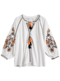 String Tassels Embroidered Blouse