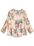 Floral V Neck Tied Ruffled Shirt