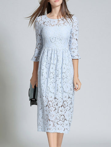 Blue Round Neck Flare Sleeve Lace Dress