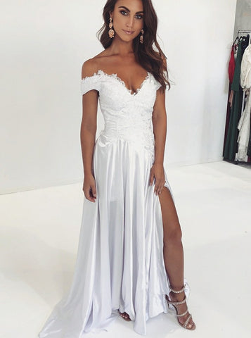 A-Line Off Shoulder Split White Appliques Prom Evening Party Dress