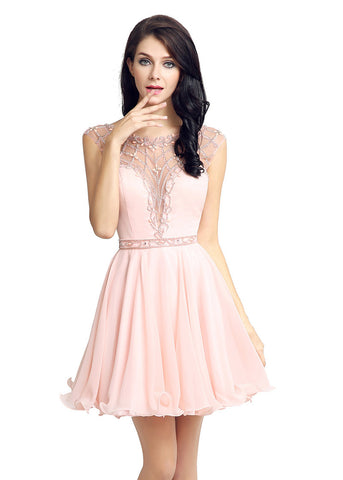 Romantic Chiffon & Tulle Jewel Neckline Short Length Homecoming Dresses With Beadings