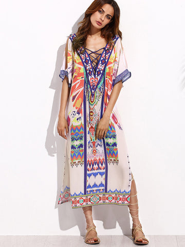 Bohemian Plus Size V-Neck Bandage Side Split Beach Dress