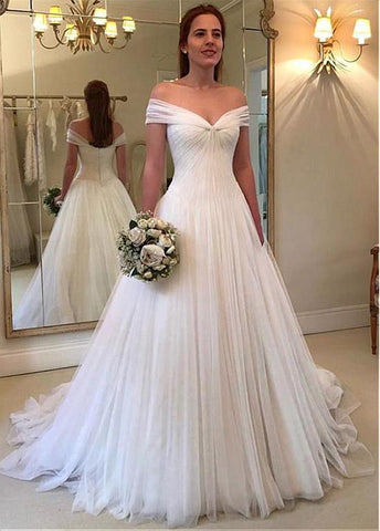 Tulle Off-the-shoulder A-line Wedding Dresses With Pleats