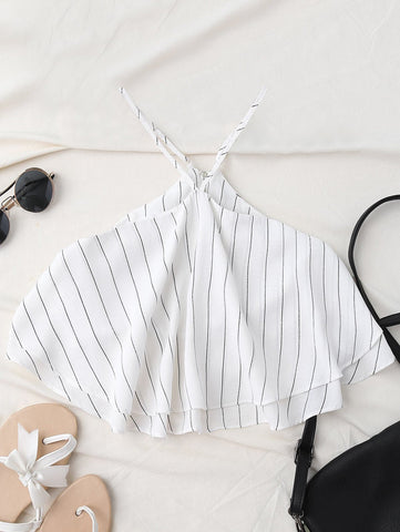 Lovely Halter Striped Crop Chiffon Top