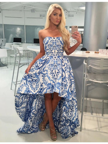 High Low Blue Printed Print Prom Dress