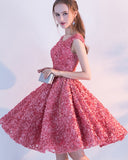 Floral Sashes Cap Sleeves Crystal Knee-Length Homecoming Dress
