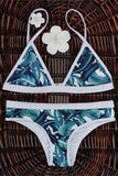 Unique High-Cut Leaf Print Bikini Set