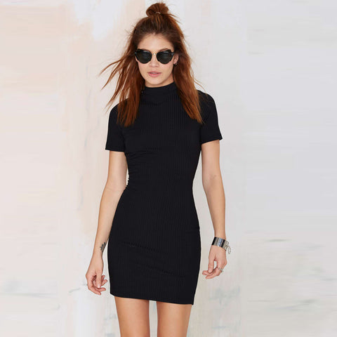 Black Backless Short Sleeve Dress