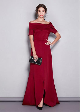 Elegant Off-the-shoulder Red A-line Evening Dress