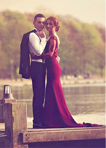 Burgundy Mermaid Evening Dresses With Lace Appliques