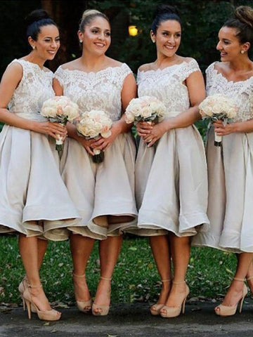 Elastic Woven Satin Knee-Length Bridesmaid Dress