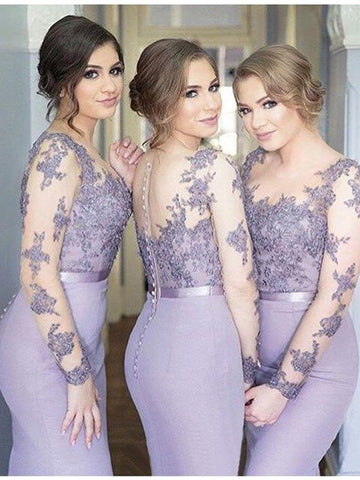 Lavender Mermaid Long Sleeves Jersey  Bridesmaid Dress