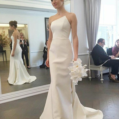 Sheath Strapless Sweep Train Ivory Elastic Satin Wedding Dress