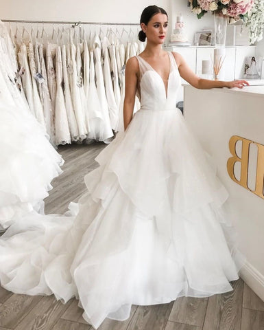 Ruffles Sweep Train A Line V Neck Organza Wedding Dress
