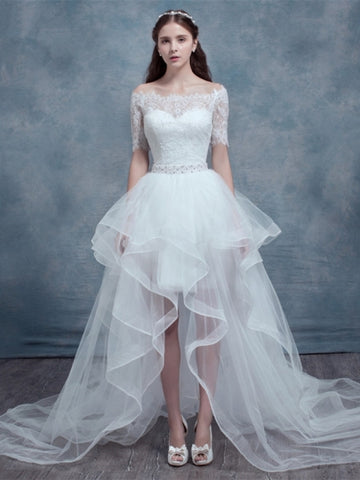 Short Sleeves High-Low Wedding Dress
