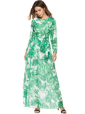 Green Long Sleeve O-neck Women Maxi Dress