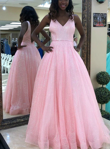 A-Line Pink Tulle Sequins V-neck Backless Prom Dress With Beading