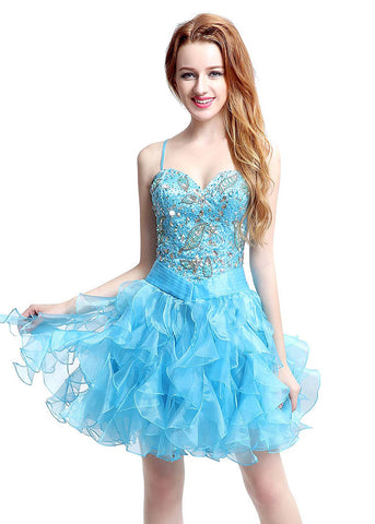Amazing Organza Spaghetti Straps Neckline Basque Waistline Short-length Ball Gown Homecoming Dresses With Ruffles