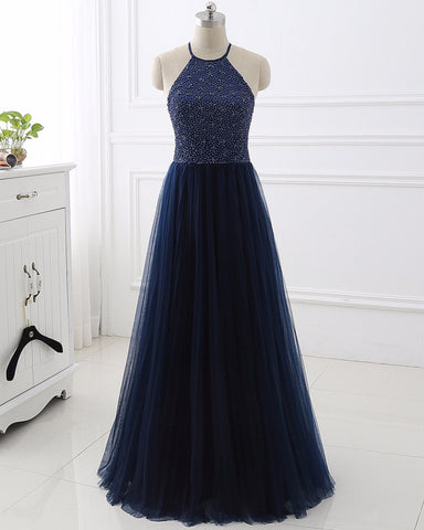 Sexy Halter Backless Evening Dresses With Beading Sequins Sleeveless Tulle A-Line Prom Dress Party Gowns
