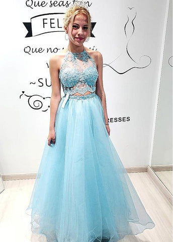 Beading Tulle Halter Neckline Two Piece A-line Prom Dress