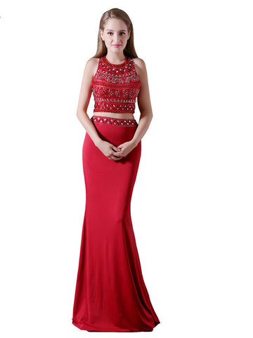 Red Scoop Beading Neck Two Piece Prom Dress