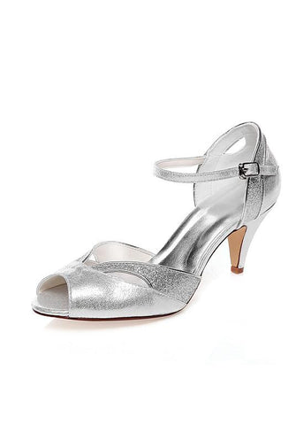 Peep Toe Kitten Heels Wedding Shoes