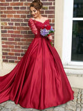 Appliques A-Line Lace Off-the-Shoulder Court Train Long Sleeves Evening Dress