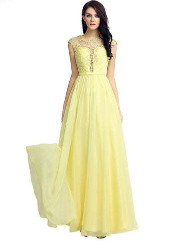 Chic Chiffon Illusion Jewel Neckline Pleated A-line Prom Dresses With Lace Appliques