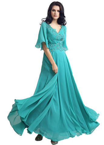 Modest Chiffon V-neck Neckline Trumpet Sleeves A-line Evening Dresses With Bea