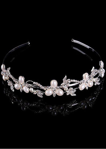 Shimmering Silver Plated Alloy Tiara With Rhinestones & Pearls
