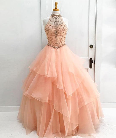 Orange Tulle Beads Long Prom Gown