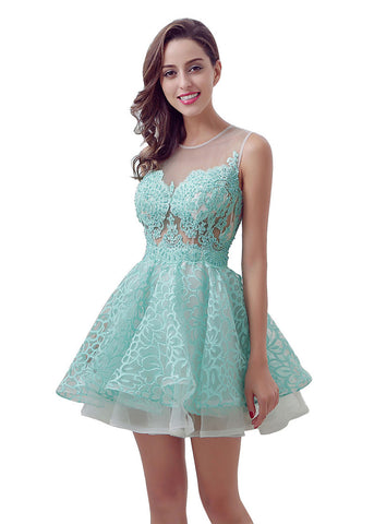 Elegant Tulle & Lace Jewel Neckline A-line Short Homecoming Dresses With Lace Appliques
