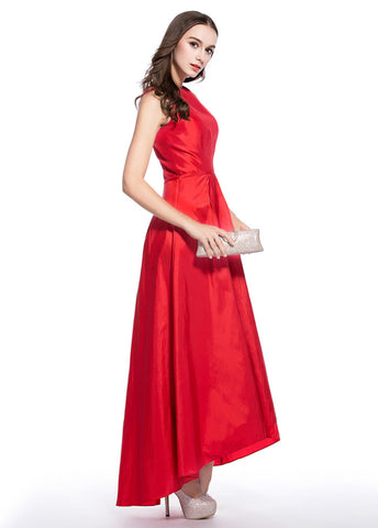 Red Graceful Taffeta Bateau Neckline Hi-lo A-line Homecoming Dresses