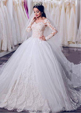 Long Sleeves Tulle Sheer Jewel Beading Ball Gown Wedding Dress
