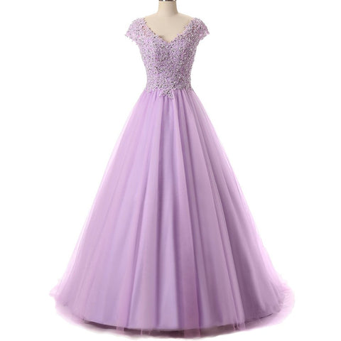 V Neck Beading Appliques Prom Dresses Long 2017 Quinceanera Gowns Cap Sleeves for Sweet 16