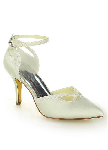 Chic Satin & Fine Shimmering Powder Upper Closed Toe Stiletto Heels Bridal Shoes