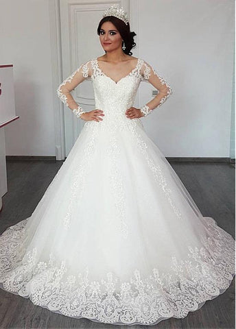 Tulle V-neck Long Sleeves A-line Wedding Dress With Lace Appliques