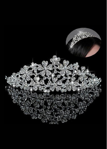 Beautiful Alloy & Rhinestones & Czech Rhinestones Silver-plated Tiara