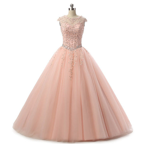 Cap Sleeve Quinceanera Dresses Long Beading Appliques Prom Party Ball Gown Long 2017