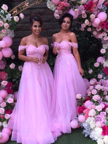 Off-the-Shoulder Pink Applique Tulle Bridesmaid Dress
