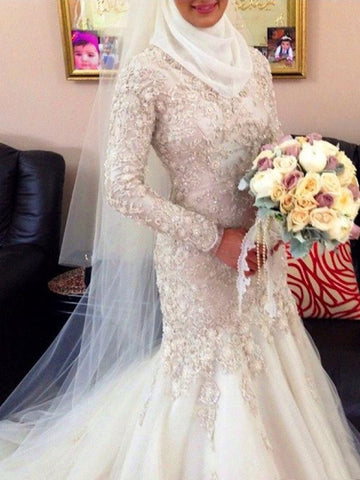 Buttons Back V-Neck Beading Lace Trumpet/Mermaid Muslim Wedding Dress