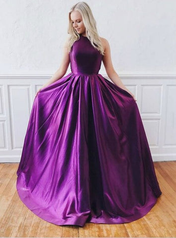 Crossed Straps A-Line Purple Satin Backless Long Prom Dress