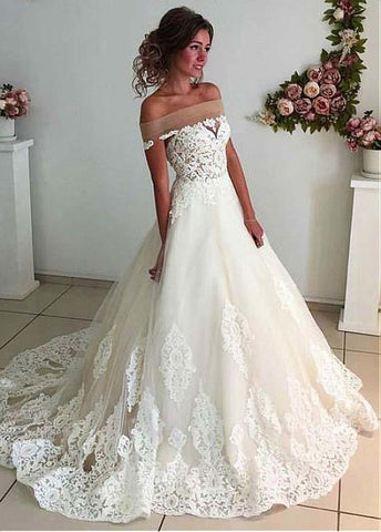 Off-the-shoulder Neckline A-line Wedding Dress With Lace Appliques