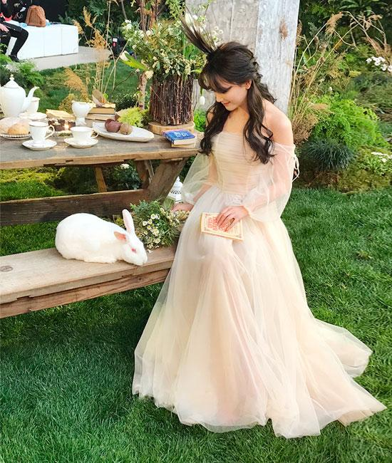 5eba3a6cb74d Champagne Tulle Off Shoulder Long Prom Dress – Sassymyprom