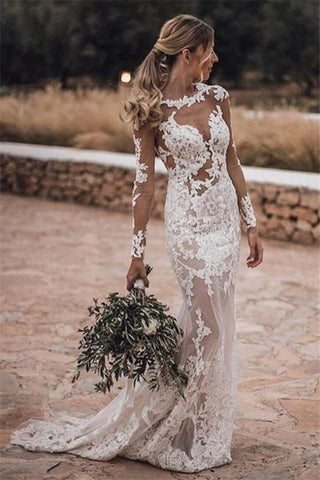 Cheap Long Sleeve See Through Lace Close-fitting Outdoor Beach Wedding Dress
