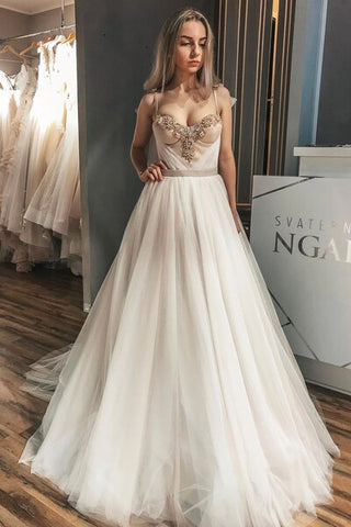 Long Unique A-Line Crystals Wedding Dress with Champagne Ribbon