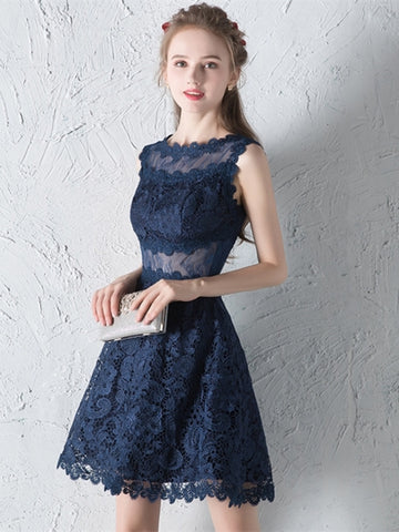 Navy Blue  Lace A-Line Scoop Short Homecoming Dress
