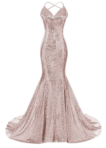 Sequins Mermaid Prom Dress Spaghetti Straps V Neck Backless Gowns