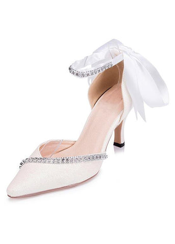 Simple Satin Upper Pointed Toe Stiletto Heels Wedding/ Bridal Party Shoes With Ribbon & Rhinestones
