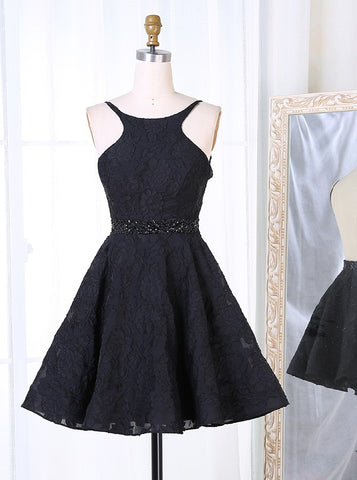 Black Lace Beading Backless Short Homecoming Dress